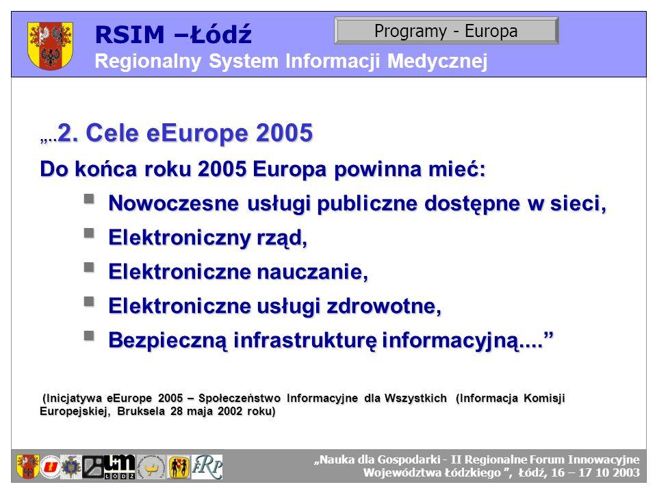 RSIM –Łódź Do końca roku 2005 Europa powinna mieć: