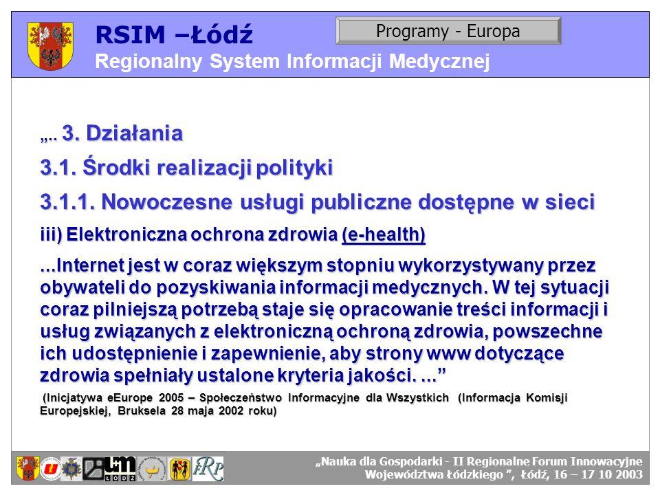 RSIM –Łódź 3.1. Środki realizacji polityki