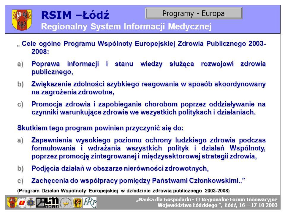 RSIM –Łódź Regionalny System Informacji Medycznej Programy - Europa