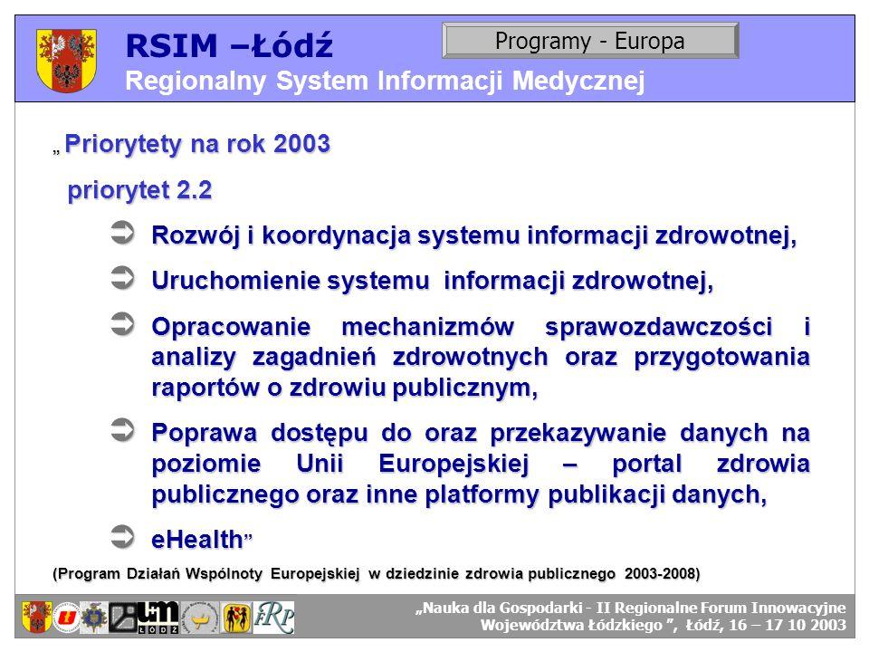 RSIM –Łódź Regionalny System Informacji Medycznej priorytet 2.2
