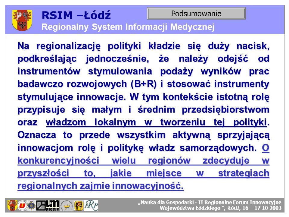 RSIM –Łódź Regionalny System Informacji Medycznej. Podsumowanie. RSIM-ŁÓDŹ – odbiorcy danych. RSIM-ŁÓDŹ – organizacja działania.