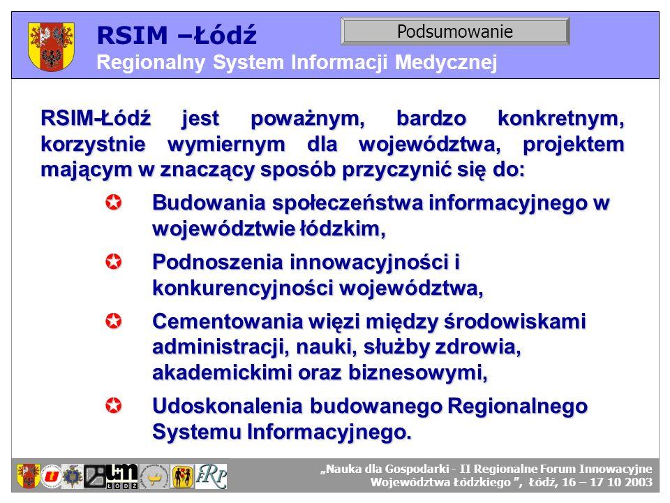 RSIM –Łódź Regionalny System Informacji Medycznej. Podsumowanie. RSIM-ŁÓDŹ – organizacja działania.