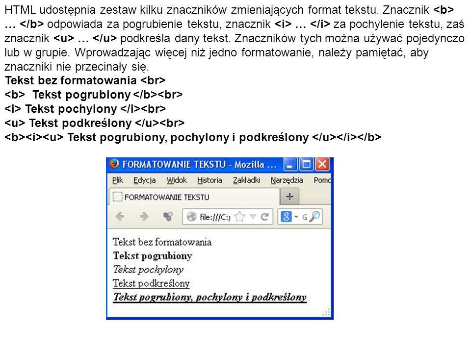 HTML udostępnia zestaw kilku znaczników zmieniających format tekstu