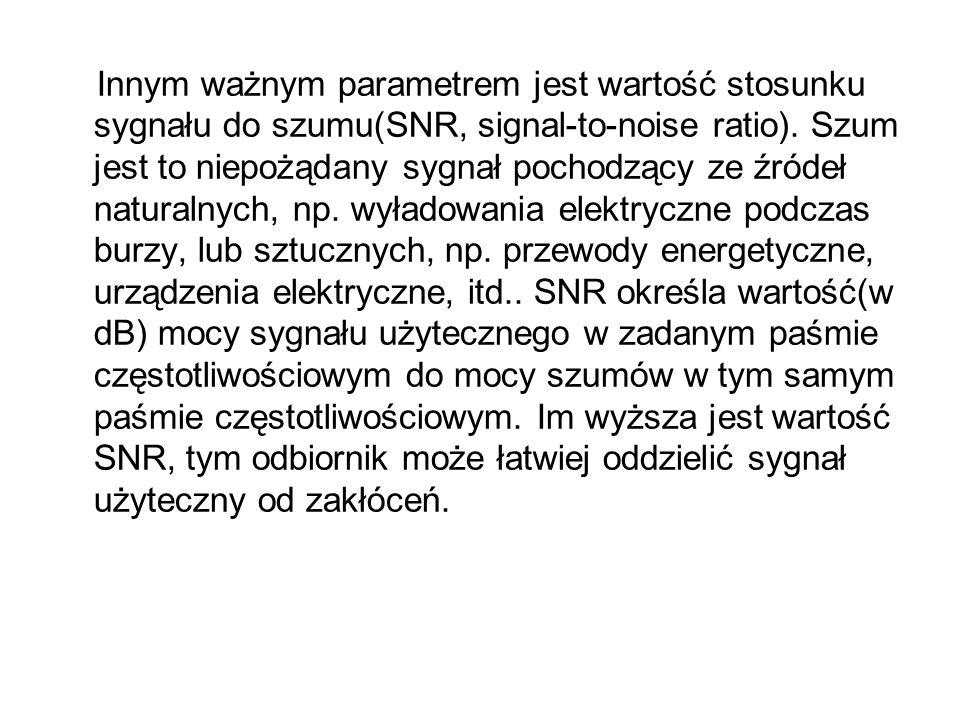 Innym ważnym parametrem jest wartość stosunku sygnału do szumu(SNR, signal-to-noise ratio).