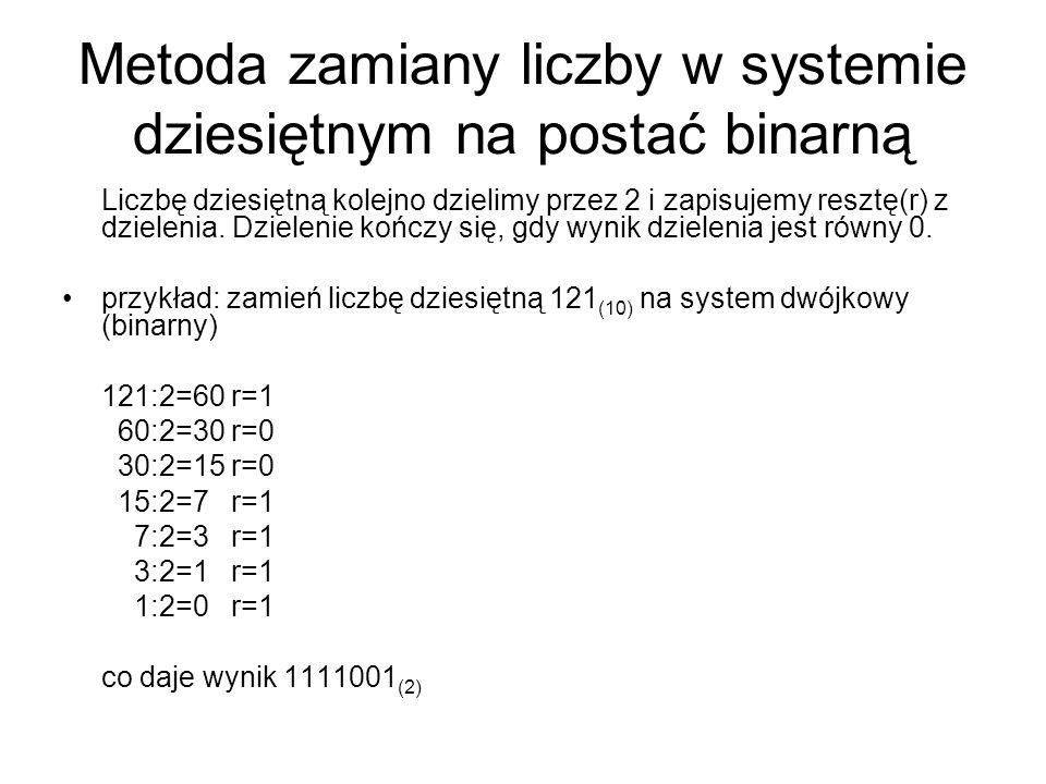 Metoda zamiany liczby w systemie dziesiętnym na postać binarną