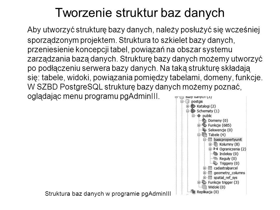 Tworzenie struktur baz danych