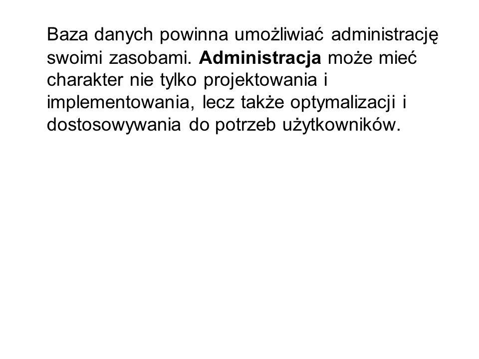 Baza danych powinna umożliwiać administrację swoimi zasobami
