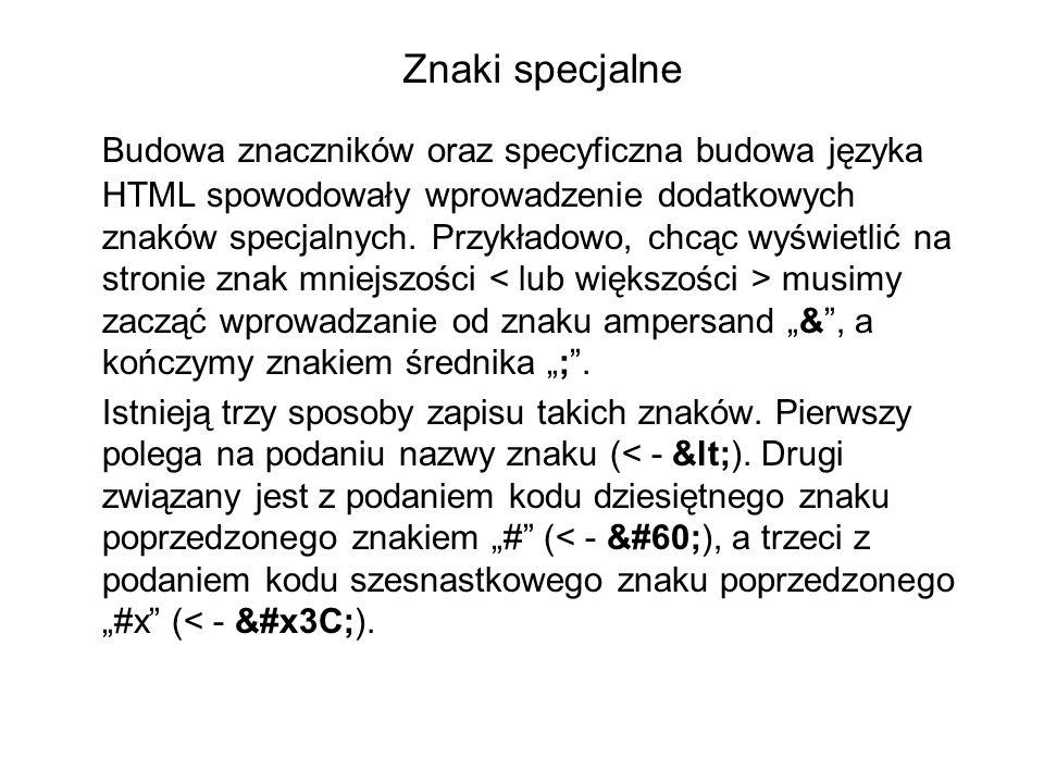 Znaki specjalne