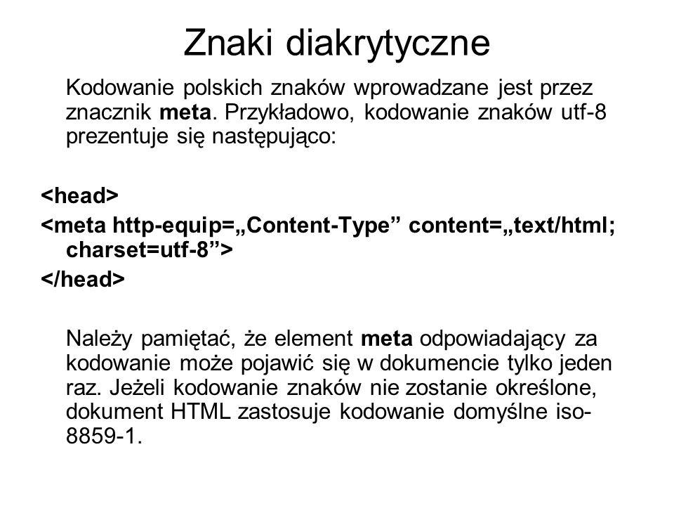 Znaki diakrytyczne Kodowanie polskich znaków wprowadzane jest przez znacznik meta. Przykładowo, kodowanie znaków utf-8 prezentuje się następująco: