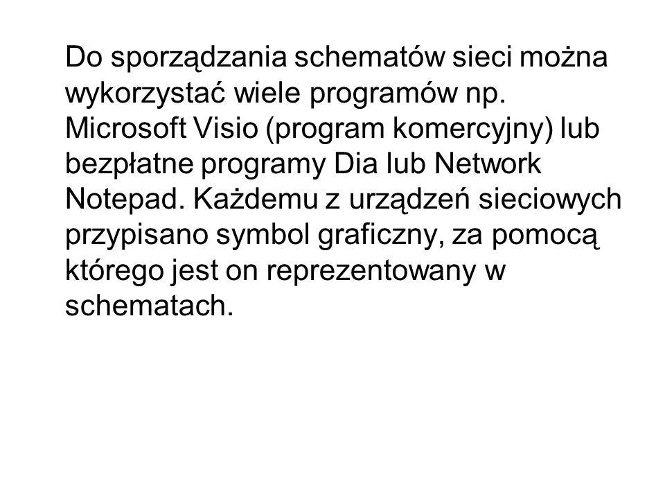 Do sporządzania schematów sieci można wykorzystać wiele programów np