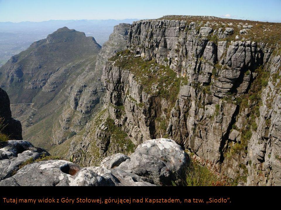 Tutaj mamy widok z Góry Stołowej, górującej nad Kapsztadem, na tzw