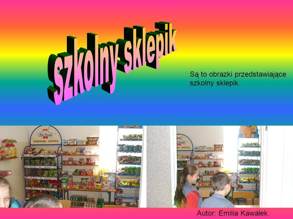 szkolny sklepik Są to obrazki przedstawiające szkolny sklepik.