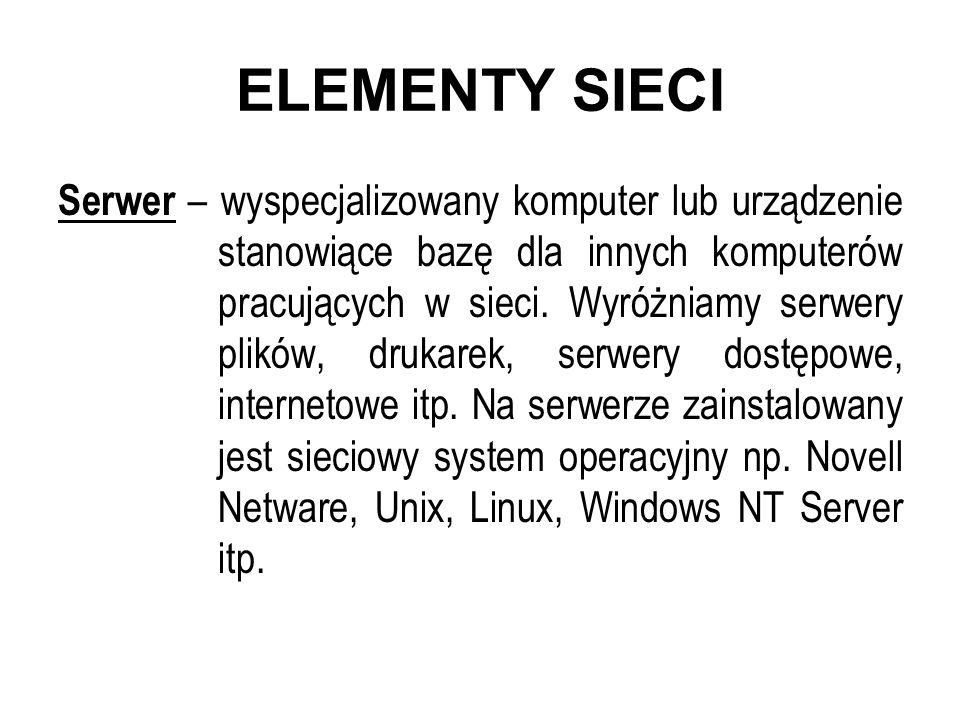 ELEMENTY SIECI