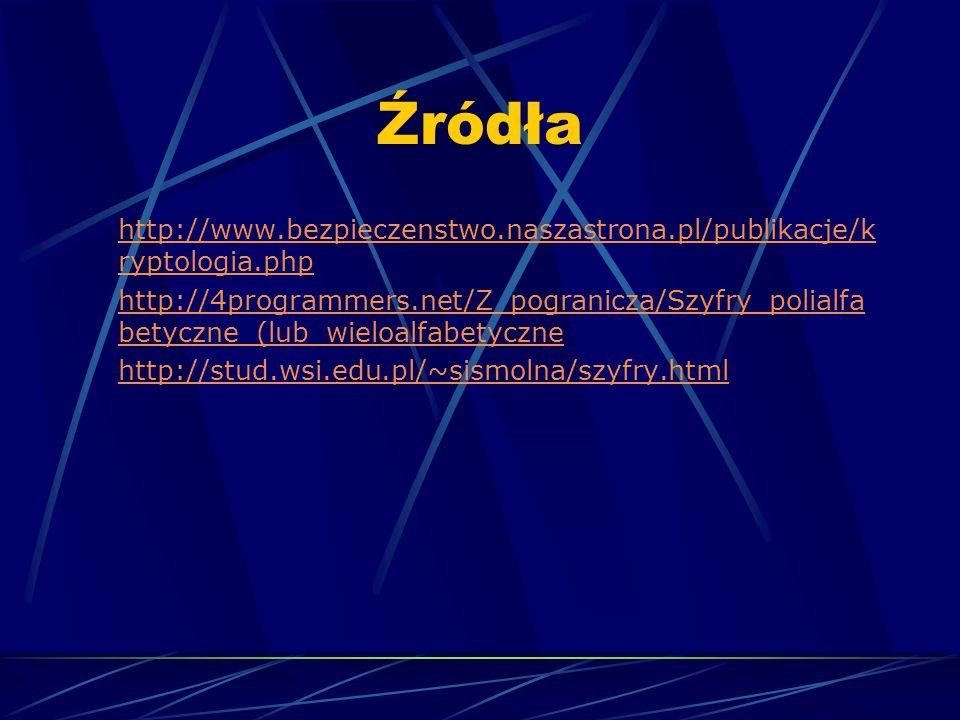 Źródła http://www.bezpieczenstwo.naszastrona.pl/publikacje/kryptologia.php.