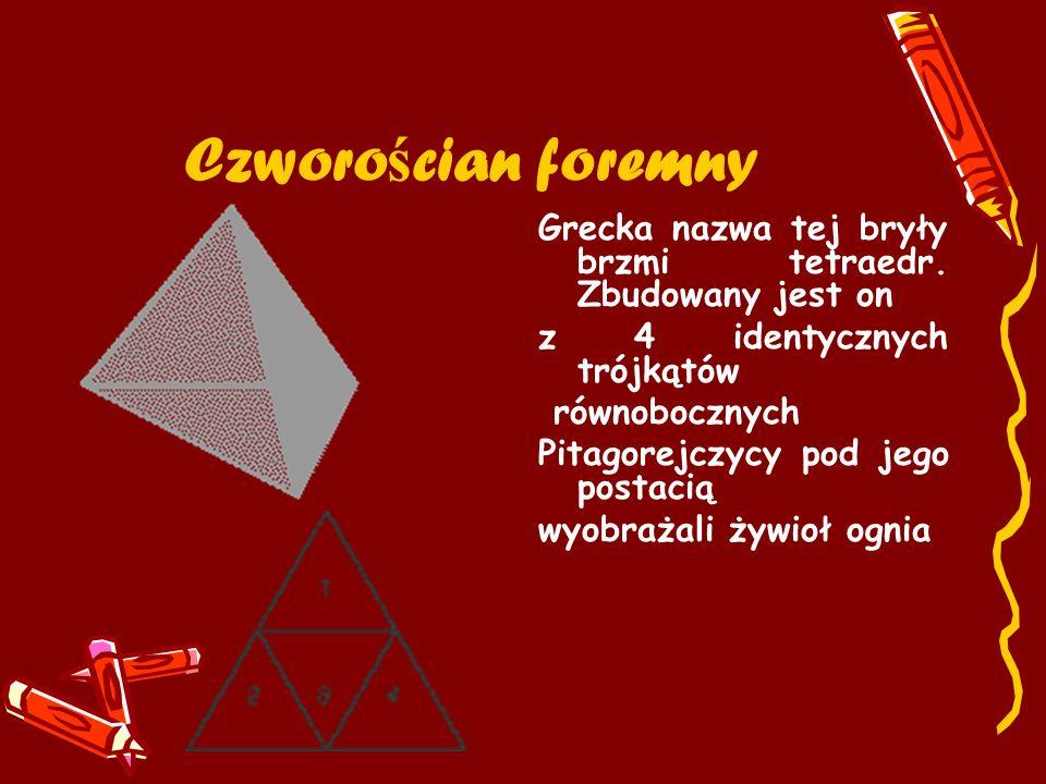 Czworościan foremny Grecka nazwa tej bryły brzmi tetraedr. Zbudowany jest on. z 4 identycznych trójkątów.