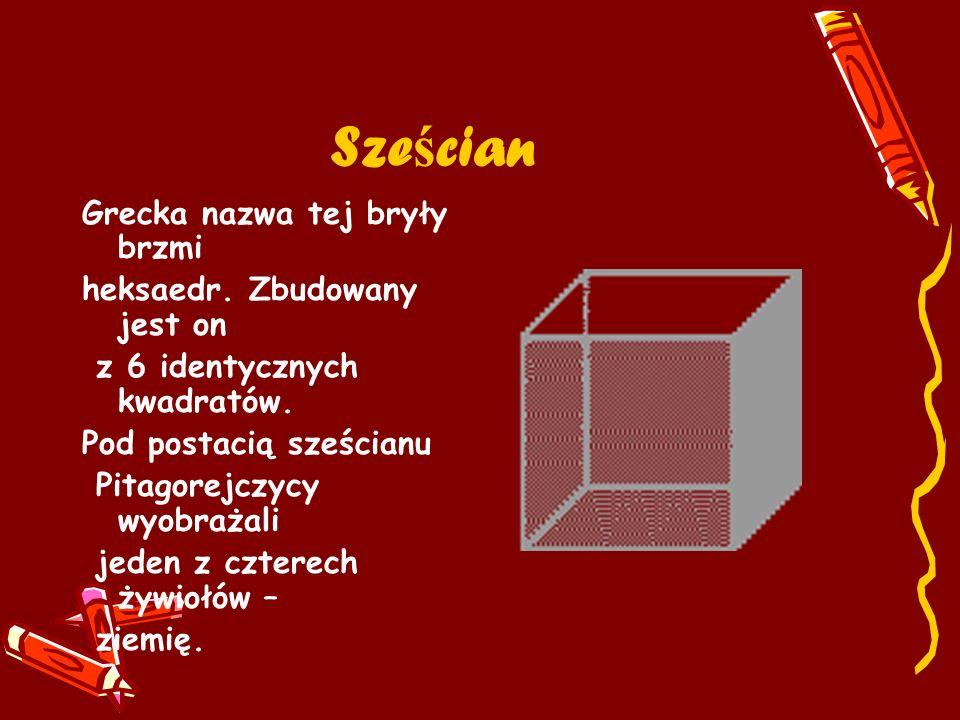 Sześcian Grecka nazwa tej bryły brzmi heksaedr. Zbudowany jest on