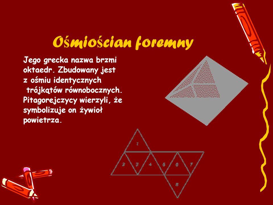 Ośmiościan foremny Jego grecka nazwa brzmi oktaedr. Zbudowany jest