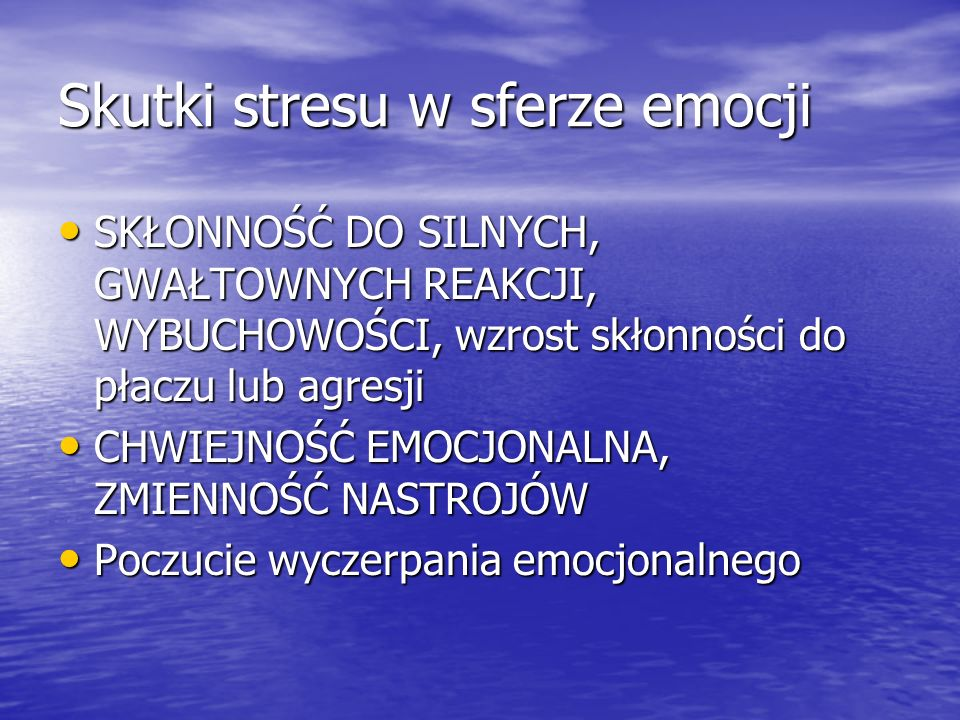 Skutki stresu w sferze emocji