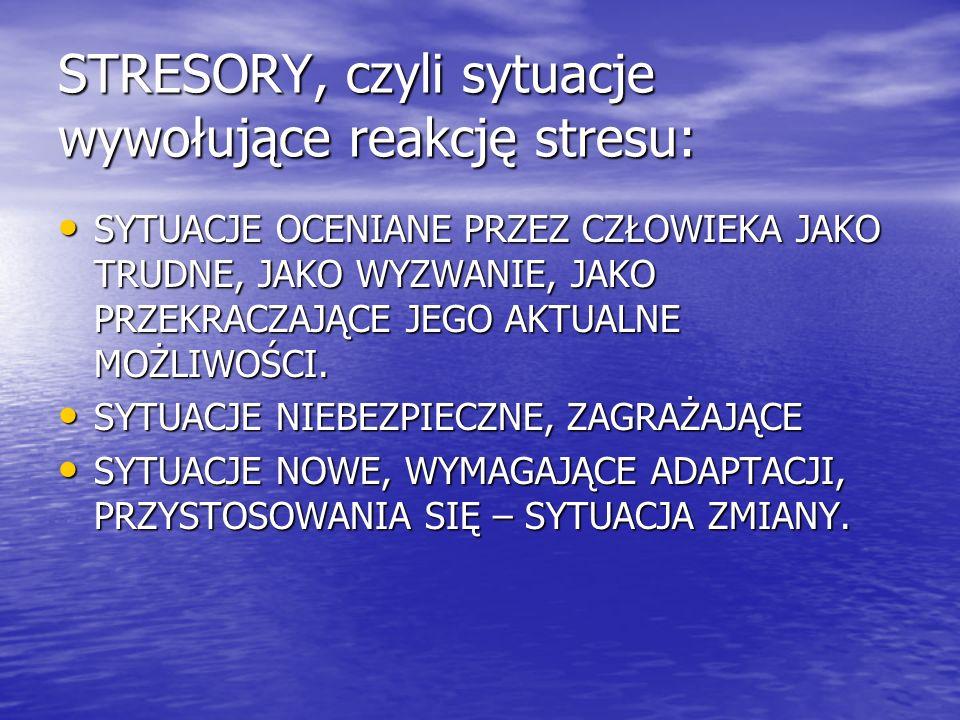 STRESORY, czyli sytuacje wywołujące reakcję stresu: