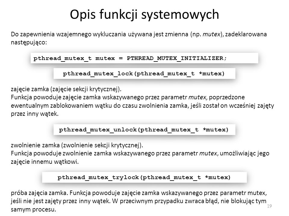 Opis funkcji systemowych