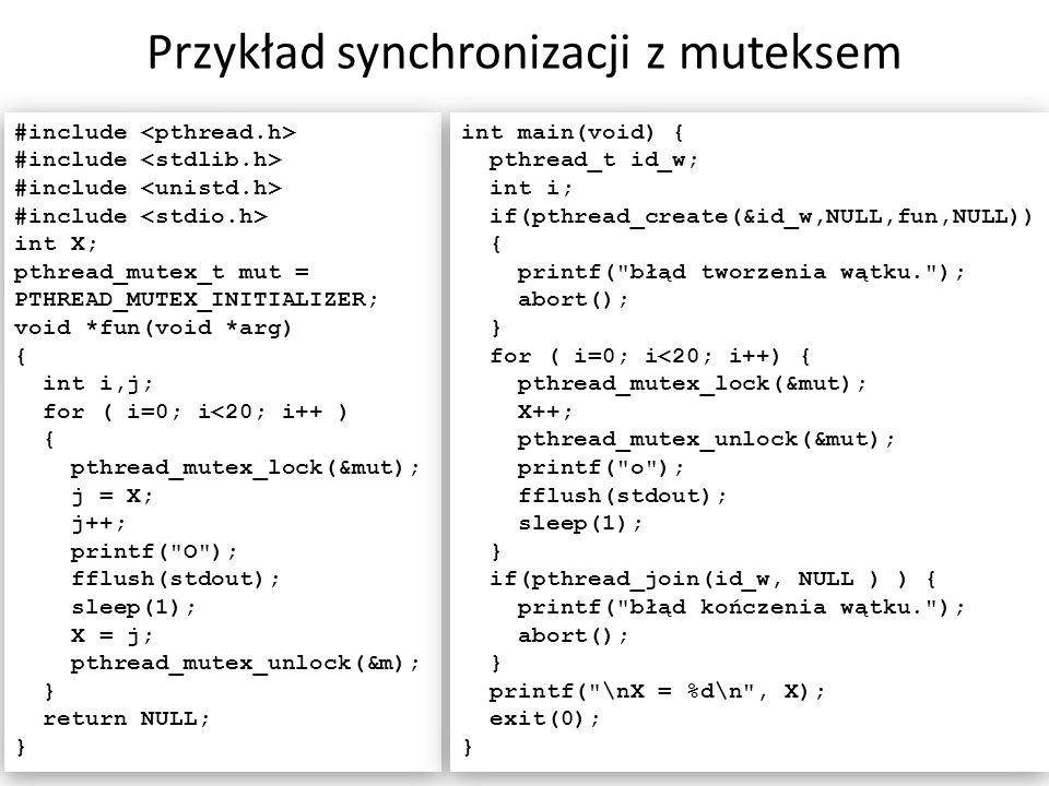Przykład synchronizacji z muteksem