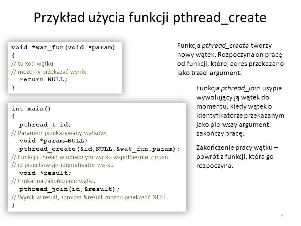 Przykład użycia funkcji pthread_create