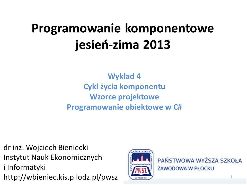 Programowanie komponentowe jesień-zima 2013