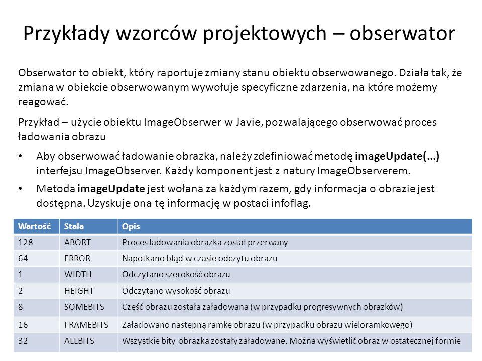 Przykłady wzorców projektowych – obserwator