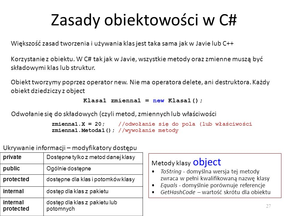 Zasady obiektowości w C#