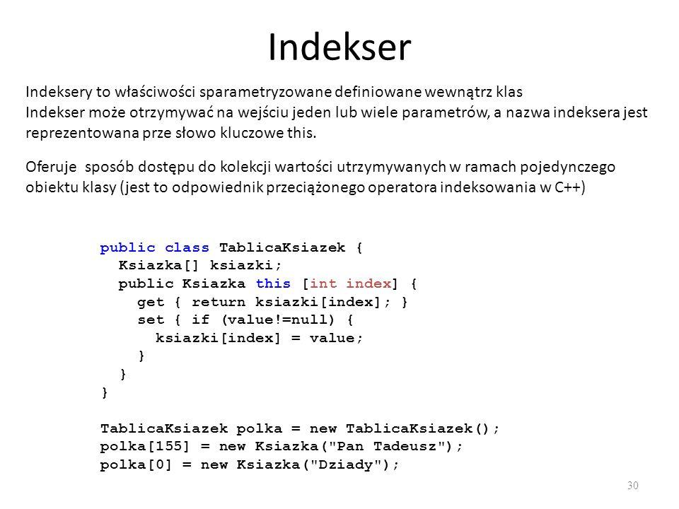 Indekser Indeksery to właściwości sparametryzowane definiowane wewnątrz klas.