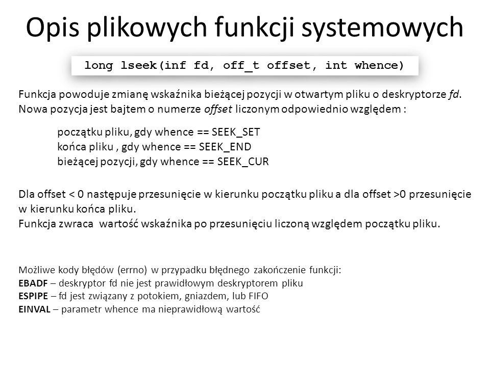 Opis plikowych funkcji systemowych