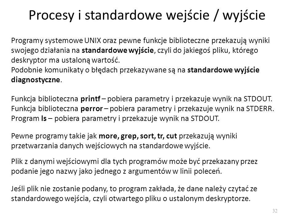 Procesy i standardowe wejście / wyjście