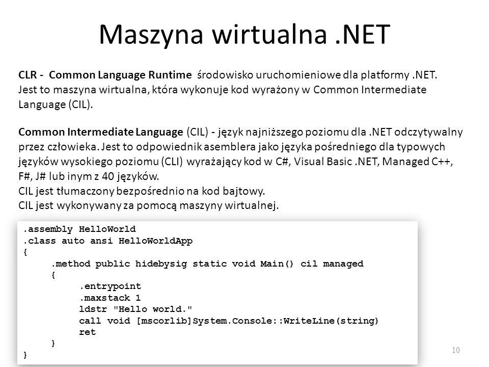 Maszyna wirtualna .NET CLR - Common Language Runtime środowisko uruchomieniowe dla platformy .NET.