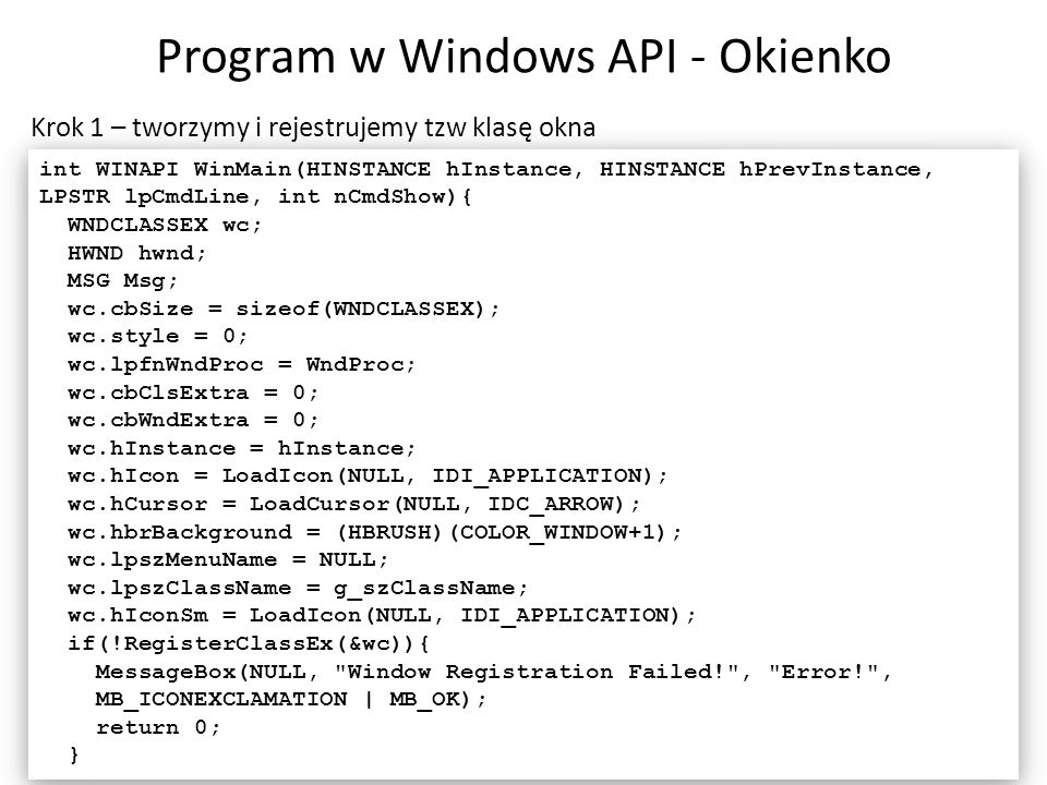 Program w Windows API - Okienko