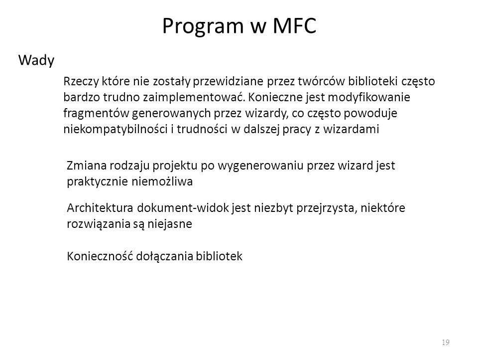 Program w MFC Wady.