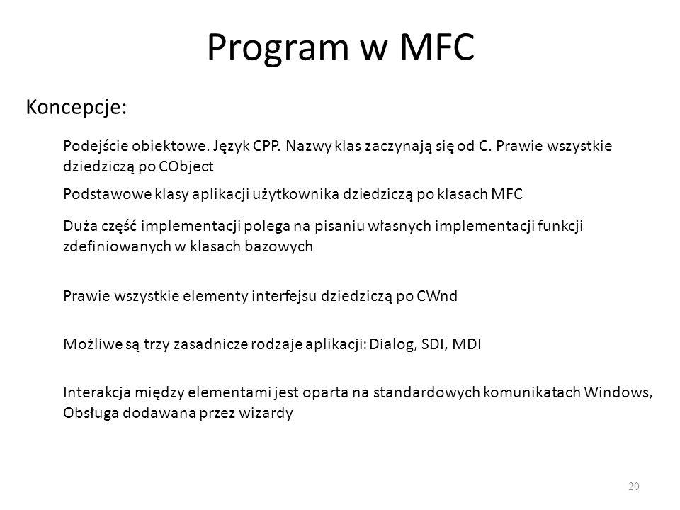Program w MFC Koncepcje: