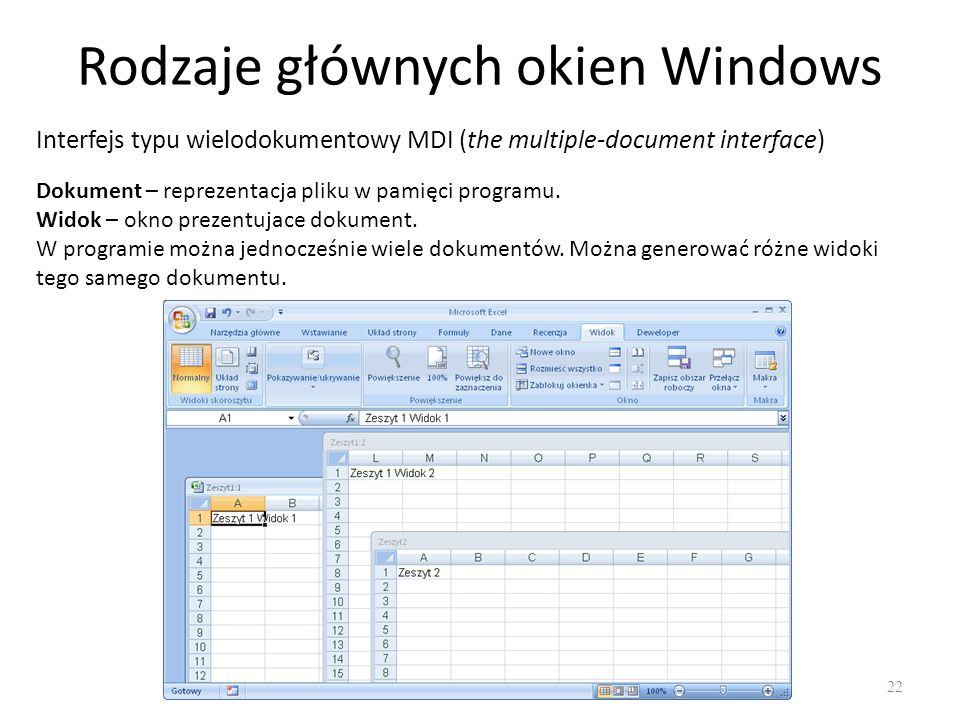 Rodzaje głównych okien Windows