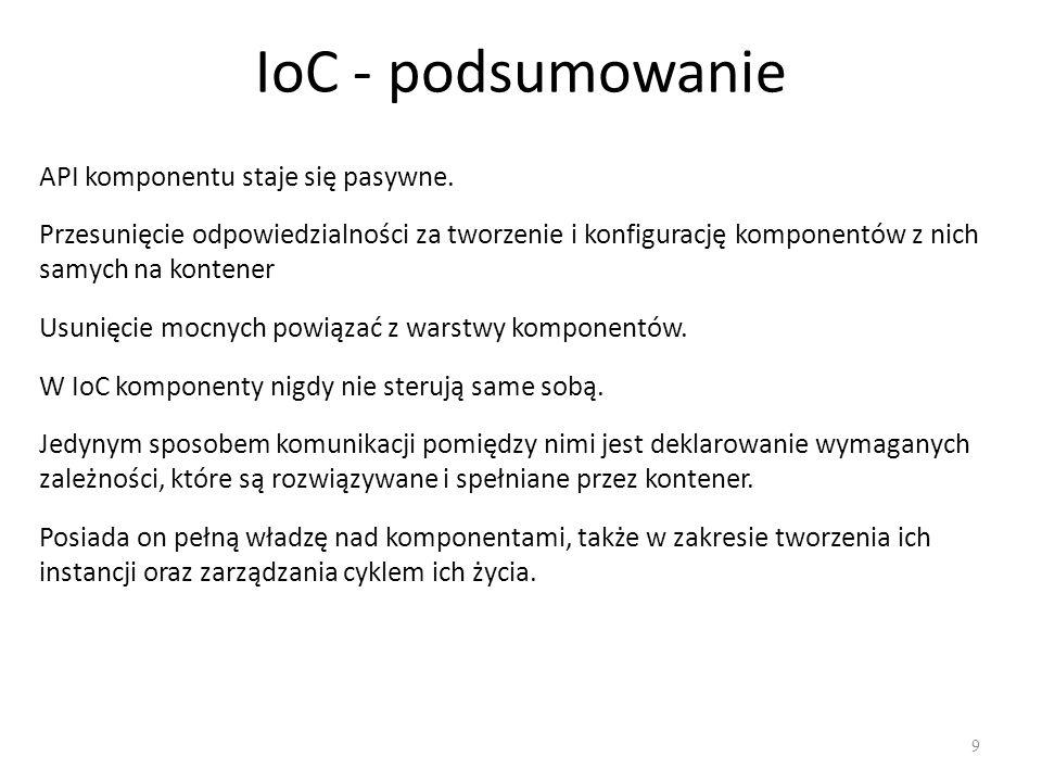 IoC - podsumowanie API komponentu staje się pasywne.