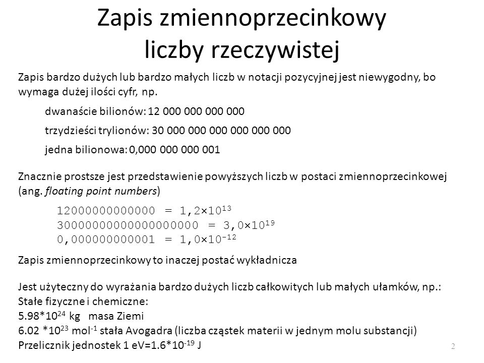 Zapis zmiennoprzecinkowy liczby rzeczywistej