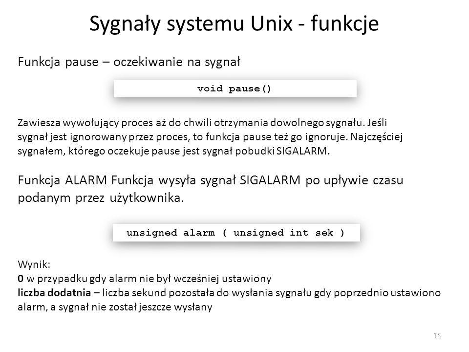 Sygnały systemu Unix - funkcje