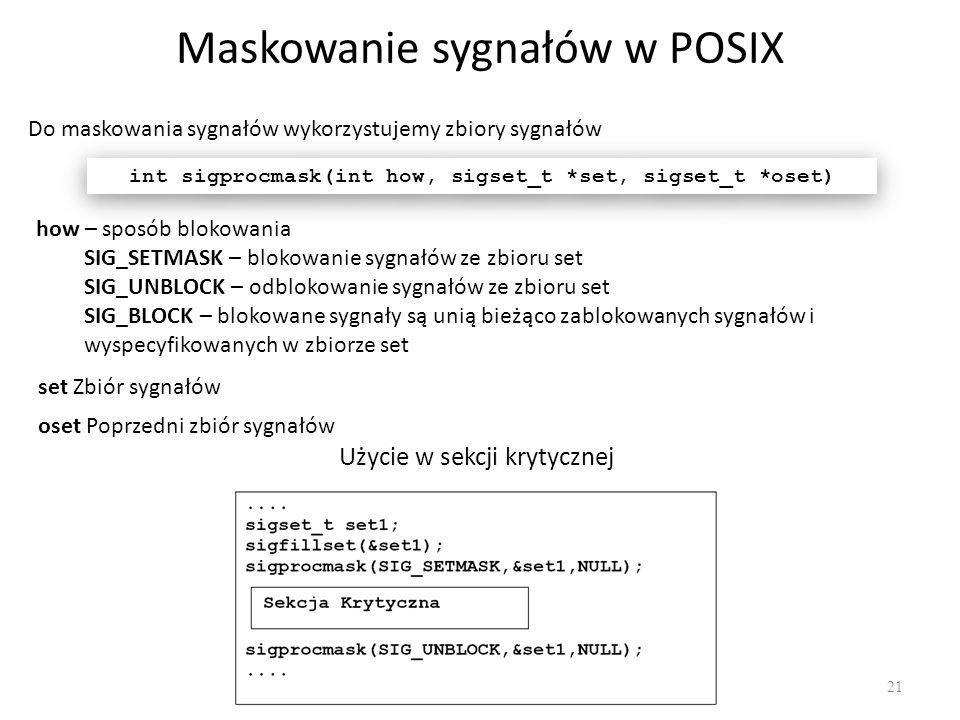 Maskowanie sygnałów w POSIX