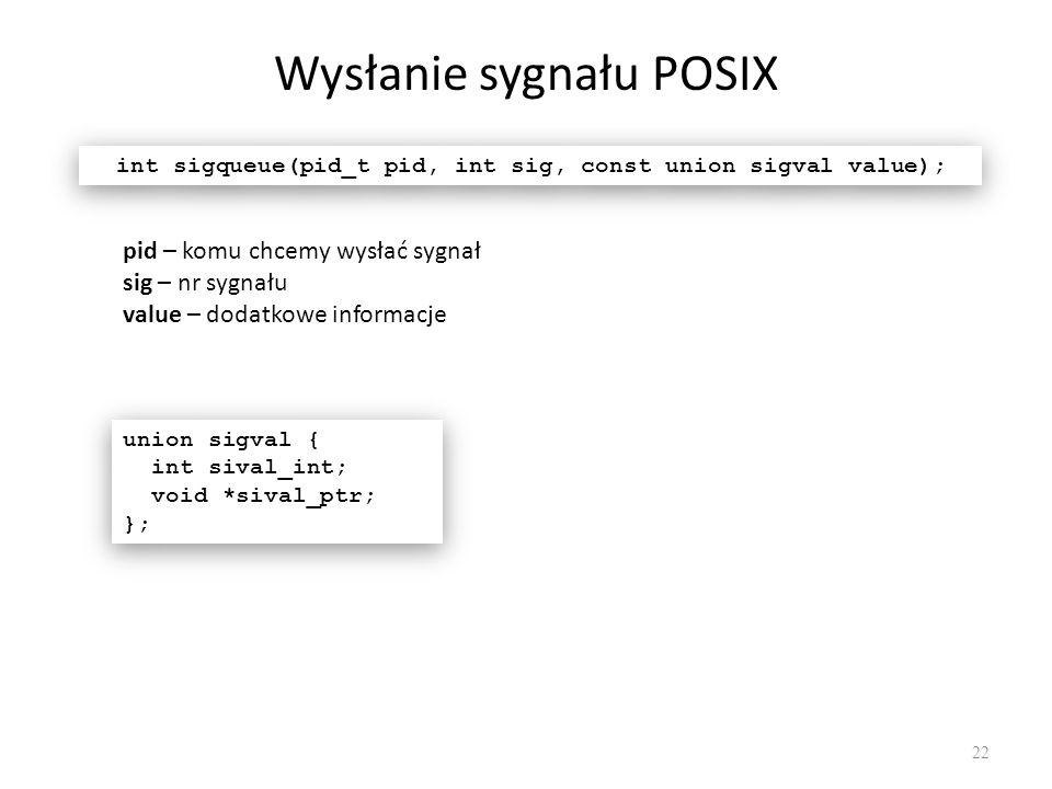 Wysłanie sygnału POSIX