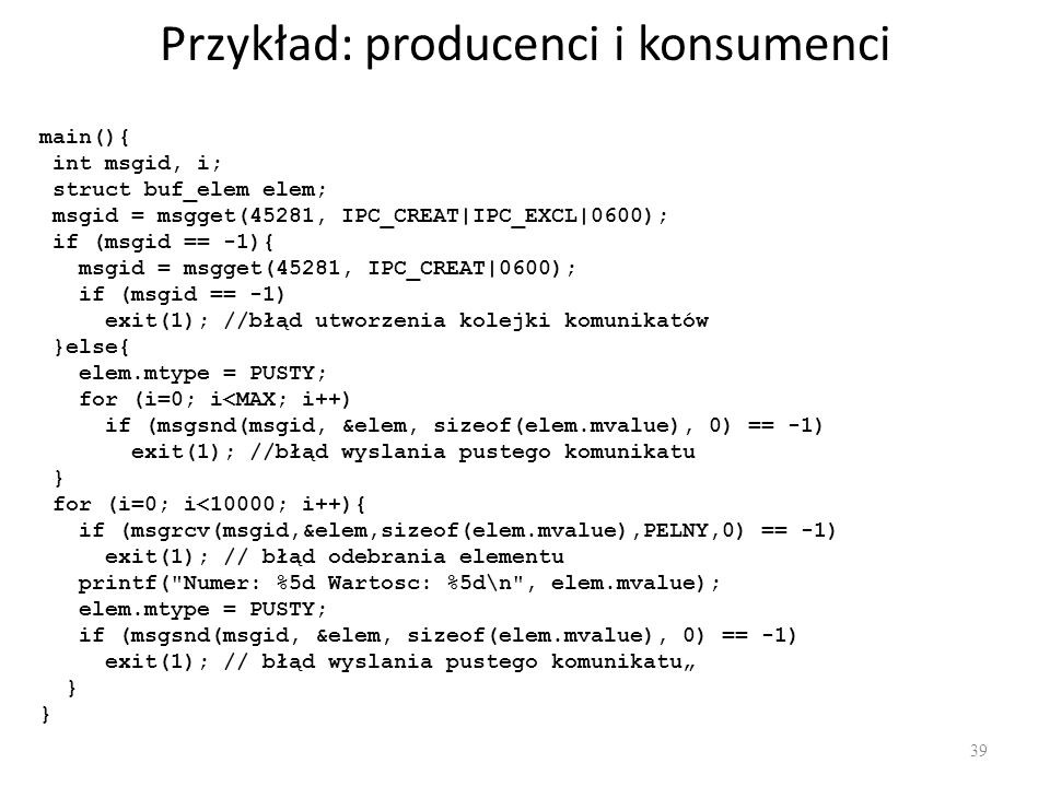 Przykład: producenci i konsumenci