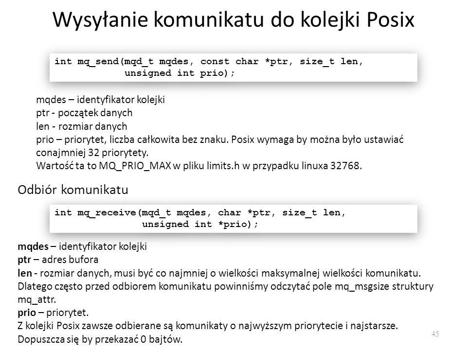Wysyłanie komunikatu do kolejki Posix