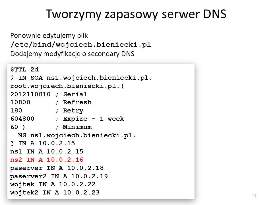 Tworzymy zapasowy serwer DNS