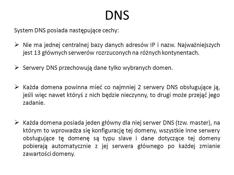 DNS System DNS posiada następujące cechy: