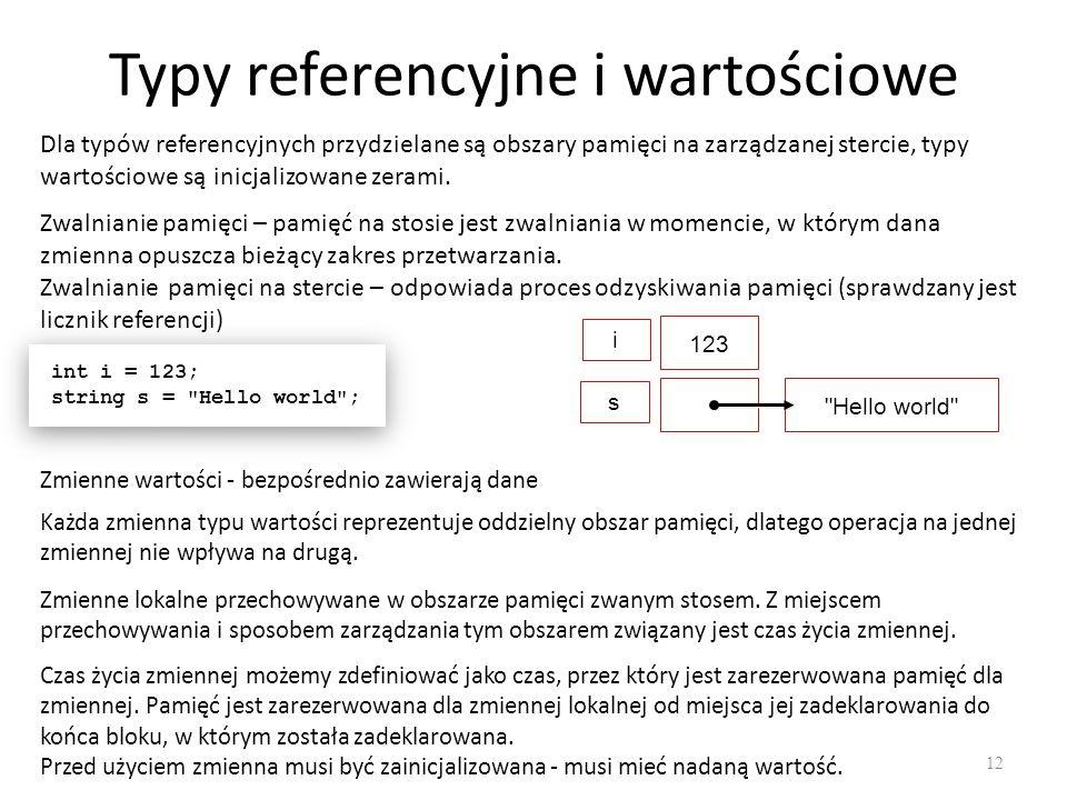 Typy referencyjne i wartościowe