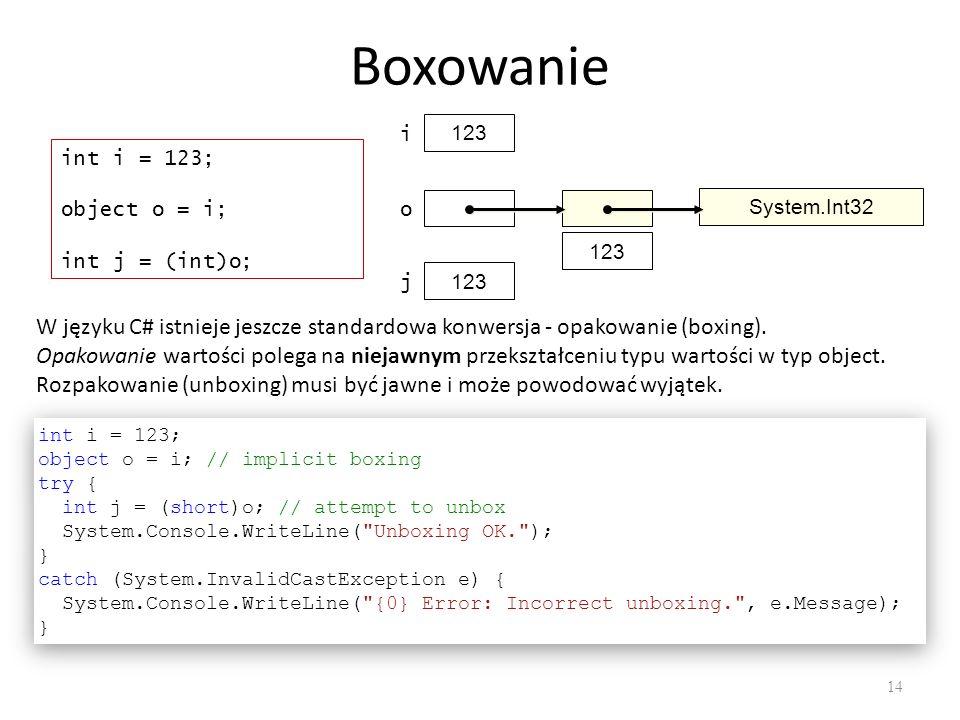 Boxowanie 123. i. int i = 123; object o = i; int j = (int)o; 123. o. System.Int32. 123. j.