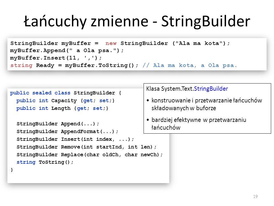 Łańcuchy zmienne - StringBuilder