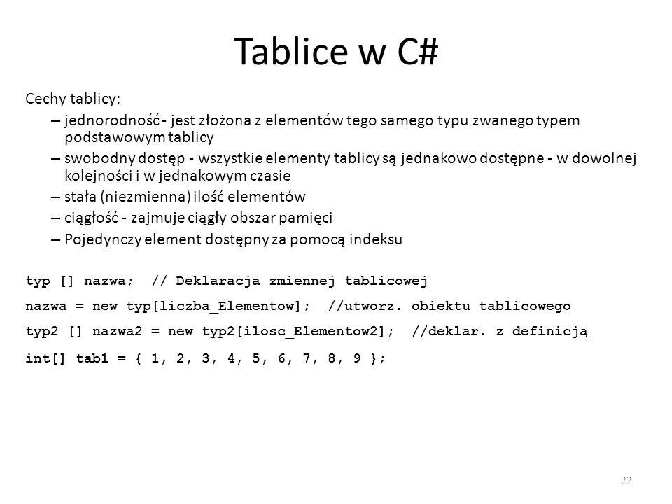 Tablice w C# Cechy tablicy: